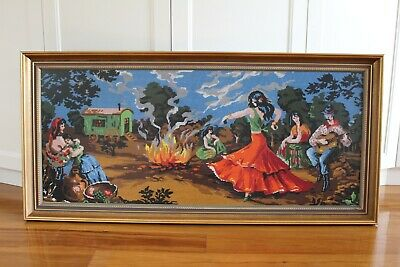 Vintage, Framed, Tapestry Art Handstitched Needlepoint, Gypsy Dance 121cm x 57