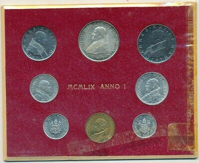 1959 Vatican City 8 Coin Mint Set-Red Card-Gorgeous Unc Coins! Ships Free!