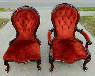 Mahogany Victorian Parlor Chairs Lady and Gentleman's circa 1860