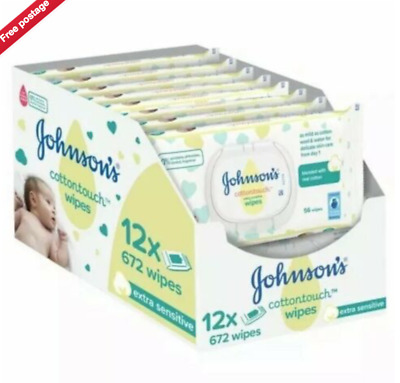 JOHNSON'S BABY COTTON TOUCH EXTRA SENSITIVE WIPES 12 x 56s (672 WIPES)