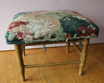 Vintage foot stool floral upholstery Ottoman wooden leg handmade Antique pouf