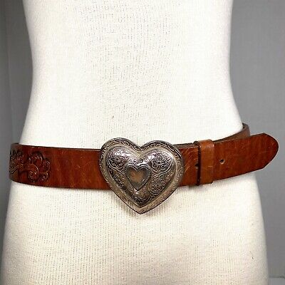 L/XL Vintage 90s Brighton Tooled Leather Belt Distressed Heart Buckle 1993s