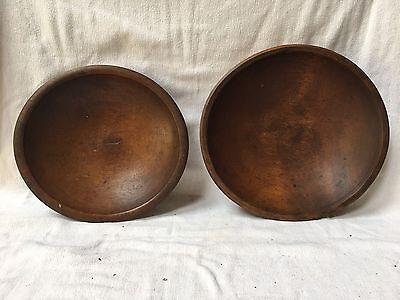 Antique Pair of Wood nesting bowls hand turned green working bowls Handmade