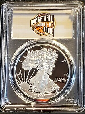 2020-W American Silver Eagle Pcgs Pr70Dcam First Strike Basketball Hall Of Fame