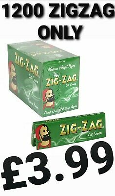 1250 Zig Zag Green Rizla Rolling Papers 25 Packs X 50 Papers Cheapest