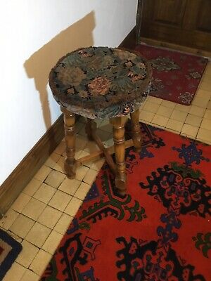 Oak Wooden Tapestry Seated Stool