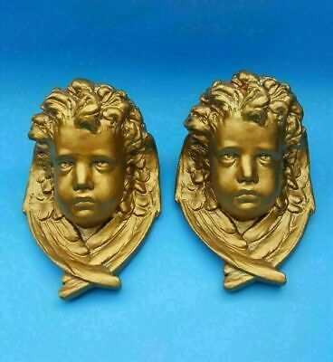 """Vintage HEAVY Carved Cherub Angel Head Face Gold Painted with Wings 10"""" x 6.5"""""""