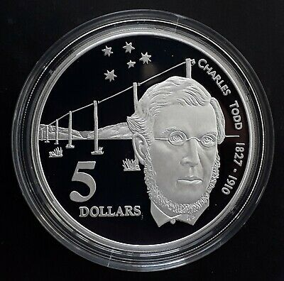 1995 Australia Colonial Australia: Charles Todd Silver ( .925 ) $5 Proof coin