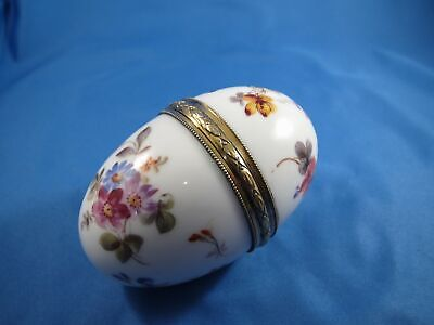 French Sterling, Porcelain Hand Painted Egg Shaped Hinged Box Original Lining NR