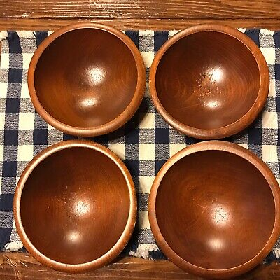 """Vintage 4 piece 6"""" Hand Carved Wooden Salad Snack Bowl Set Mid Century Style"""