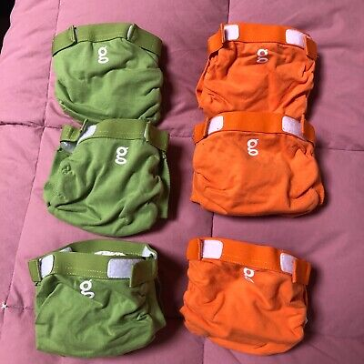 G Diapers, 12 Newborn, 6 Small (3 Orange, 3 Green), 140 Newborn/Small Inserts