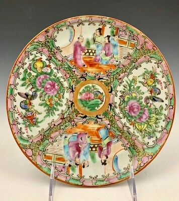 "Antique Chinese Famille Rose Medallion Canton Porcelain Enamel 8.5"" Coupe Plate"