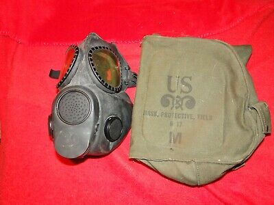 Older M17-Series Chemical-Biological US Military Gas Mask w/Canvas Bag - Nice