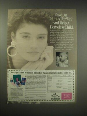 1990 Hanes Her Way Apparel Ad - Save on Hanes Her Way and help a homeless child