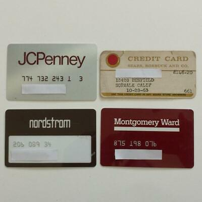 4 Vintage Expired Credit Cards For Collectors - Retail Store Lot