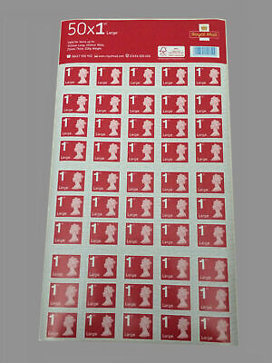 50 x 1 Royal Mail First Class Large Letter 1st Class Self Adhesive Stamp Sheet.