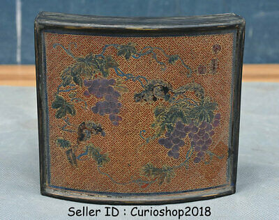 """5.2"""" Old Chinese Bronze Painting Dynasty squirrel grape Jewelry box jewel case"""