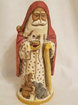 Hand Carved wood Santa Signed & Numbered  A.C 49/3000