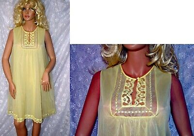VTG Vanity Fair TENT STYLE 1960 Double Layer Chiffon Lace Babydoll Nightie M L