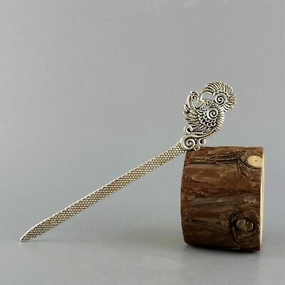 Collect China Old Miao Silver Hand-Carved Flying Phenix Delicate Noble Hairpin