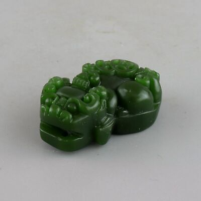 Collectable Handwork China Old Green Jade Carve Myth Kylin Bring Luck Pendant