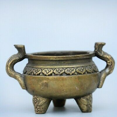 Collectable China Old Bronze Hand-Carved Moral Auspicious Delicate Unique Censer