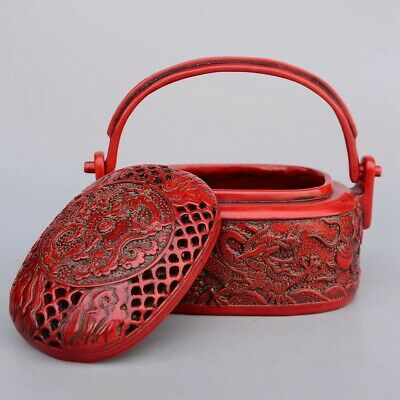 Collect China Old Red Coral Carved Myth Dragon Moral Delicate Warm Hand Warmer