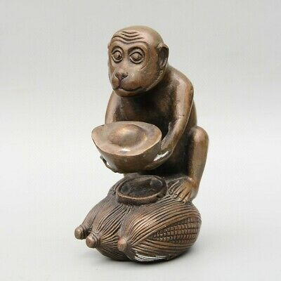 Collectable China Old Bronze Hand-Carved Monkey & Wealth Moral Auspicious Statue