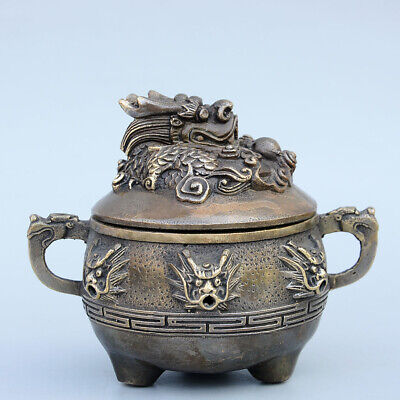 Collect China Old Bronze Hand-Carved Myth Dragon Moral Auspicious Fine Censer