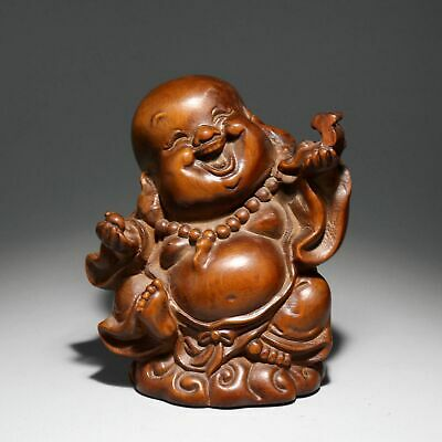 Collectable China Old Boxwood Hand-Carved Little Buddha Delicate Buddhism Statue