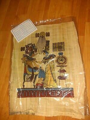 """Old Hand Painted Ancient Egyptian Papyrus- king tutankhamoun and wife 16""""x13"""""""