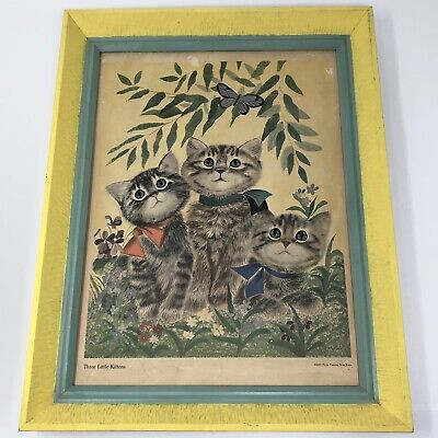 art print~THREE KITTENS~cats~Linda Spivey~cat~kitten primitive folk 12x15.5