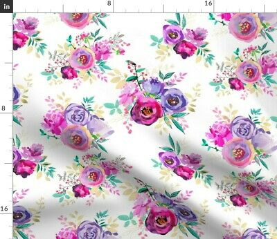 Painted Flower Bouquet Greenmountain Flowers Fabric Printed by Spoonflower BTY