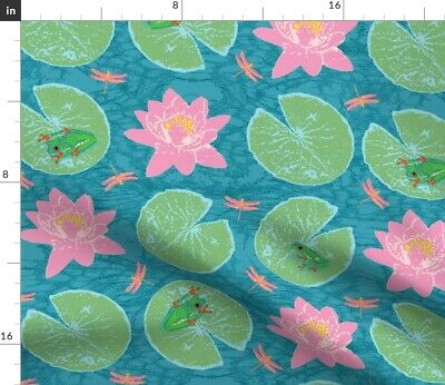Frog + Lily Summer And Pad Nursery Decor Fabric Printed by Spoonflower BTY