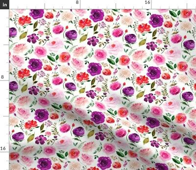 Bright Watercolor Flowers Greenmountain Wild Fabric Printed by Spoonflower BTY