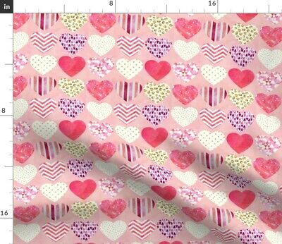 Geometric Hearts Greenmountain Cupid Fabric Printed by Spoonflower BTY