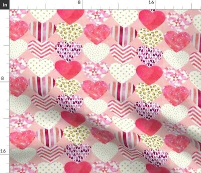 Geometric Hearts Greenmountain Valentines Day Fabric Printed by Spoonflower BTY