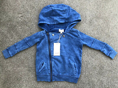 Seed Boys Blue Cotton Hooded Zip Jacket Size 2 NWT