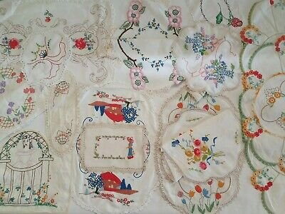 Beautiful Vintage Hand Embroidered Doilys x 15 pieces - in GC
