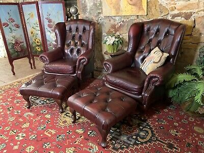2x Vintage Chesterfield Leather Wingback Chair-Burgundy-Armchair+Footstools