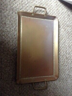 Antique Arts & Crafts Style Of John Pearson Brass Tray 44 X 28 Cms Exc Handles