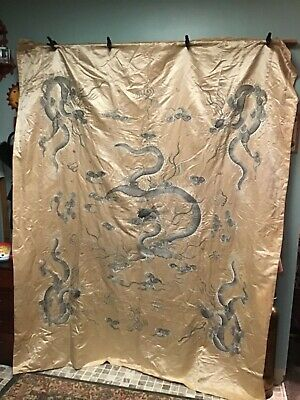 Antique Chinese Qing Dynasty Hand Embroidery Silk Wall Hanging Panel 84 x 68