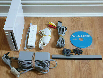 Nintendo Wii Console Full Setup + 2 Official Remotes & Nunchucks + Wii Sports