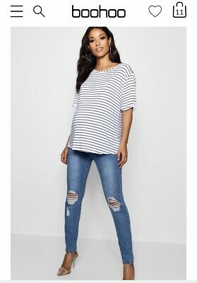 Boohoo Maternity Skinny Leg Distressed Jeans - Brand New With Tags Size 12