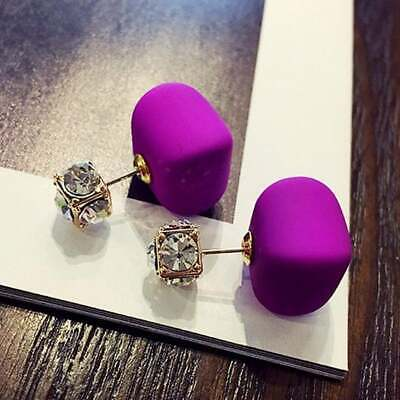 Purple Cute Square Double Sided Crown Crystal Double Ball Stud Earrings