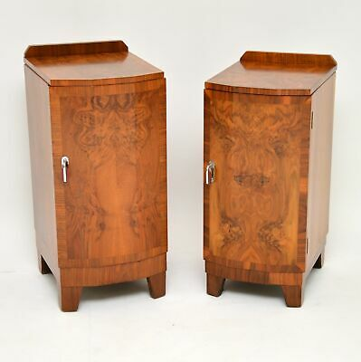 PAIR OF ORIGINAL ART DECO PERIOD BURR WALNUT BEDSIDE CABINETS VINTAGE 1920's