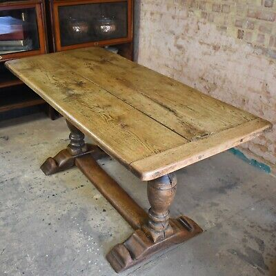 Antique 19th Century Oak Plank Refectory Dining Table Farmhouse Rustic