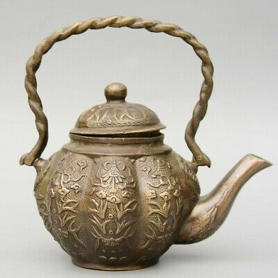 Collectable China Old Bronze Hand-Carved Bloomy Flower Delicate Unique Tea Pot