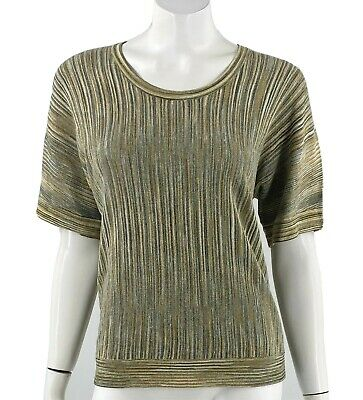 Charter Club Sweater Sz Small Petite Green Gold Sparkly Striped Pullover Womens
