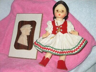 "Hand Carved Wooden Face picture -- Madame Alexander 8"" Hungarian doll"